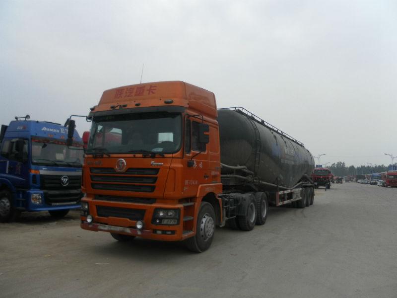 2011年10月陕汽德龙F3000双曲散装水泥罐半挂车马力380福田欧曼牵高清图片